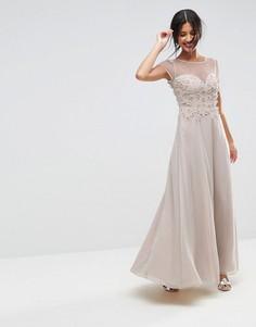 Платье макси с 3D цветочной аппликацией ASOS - Мульти