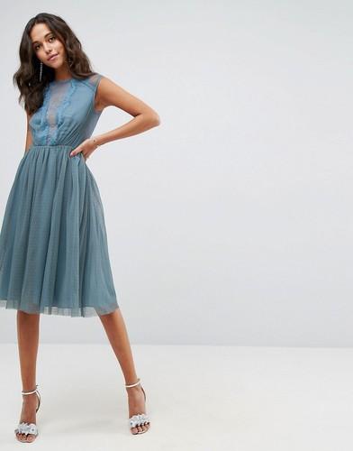 Платье миди с короткими рукавами ASOS - Синий