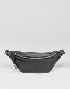 Кожаная сумка-кошелек на пояс ASOS - Черный