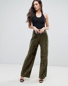 Широкие брюки из мятого бархата Love - Зеленый