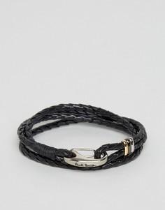 Кожаный черный браслет в несколько оборотов Paul Smith - Черный