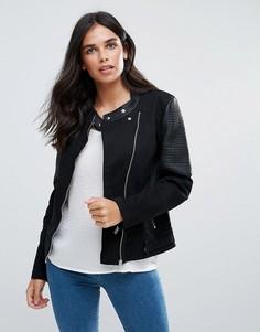 Байкерская куртка без воротника Blend She - Черный