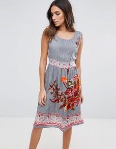 Платье миди с цветочным принтом Anmol - Серый
