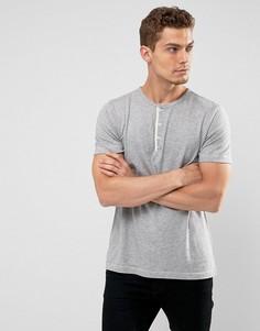 Серая меланжевая футболка хенли узкого кроя Abercrombie & Fitch - Серый