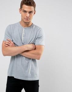 Голубая меланжевая футболка хенли узкого кроя Abercrombie & Fitch - Синий