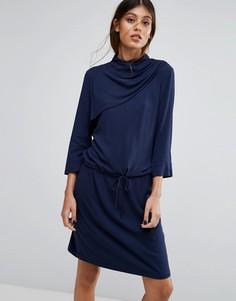 Платье с драпировкой на шее Gestuz Matoma - Темно-синий