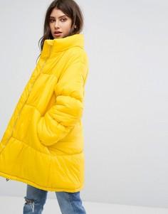 Удлиненная дутая куртка PrettyLittleThing - Желтый