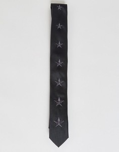 Узкий галстук с принтом звезд ASOS - Черный