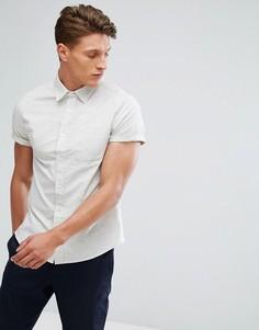 Оксфордская приталенная рубашка с короткими рукавами Burton Menswear - Бежевый