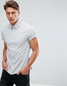 Оксфордская приталенная рубашка с короткими рукавами Burton Menswear - Серый