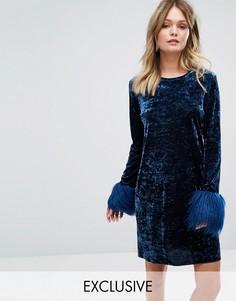 Платье мини из мятого бархата с искусственным мехом на манжетах эксклюзивно для Anna Sui - Темно-синий