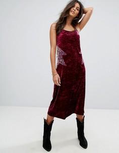 Бархатное платье-комбинация Anna Sui - Мульти