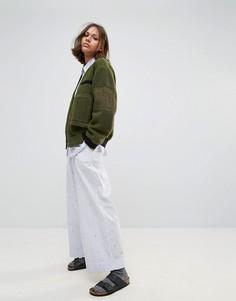 Широкие укороченные брюки Wood Wood Marion - Синий