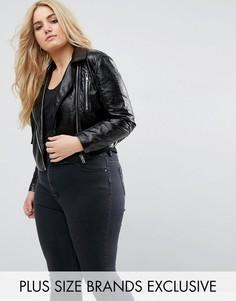 Укороченная байкерская куртка из искусственной кожи Missguided Plus - Черный