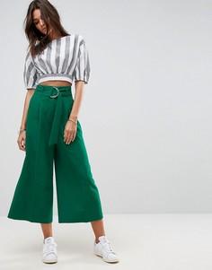 Однотонная юбка-брюки с поясом и крупной D-образной пряжкой ASOS - Зеленый