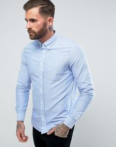 Голубая оксфордская рубашка с одним карманом Fred Perry - Синий