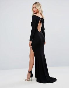 Платье макси с открытой спиной и длинными рукавами ASOS - Черный
