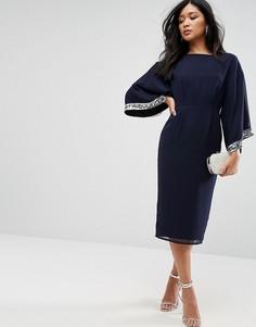 Декорированное платье-кимоно миди ASOS - Темно-синий