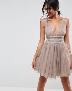 Короткое приталенное платье с декоративной отделкой ASOS - Бежевый