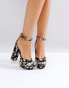 Черные туфли на каблуке с вышивкой Public Desire - Мульти