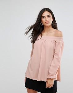 Топ с открытыми плечами из крепа AX Paris - Розовый