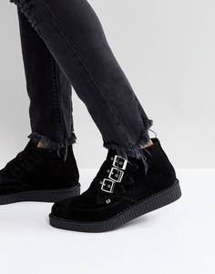 Замшевые ботинки с пряжками T.U.K - Черный TUK