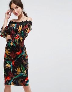 Платье-футляр с открытыми плечами, принтом и кружевной отделкой Paper Dolls - Мульти