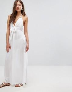 Пляжное тканое платье макси с завязкой ASOS - Белый