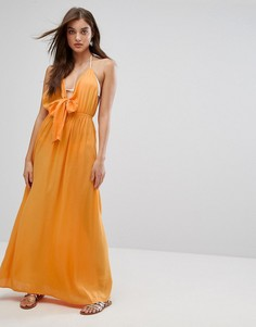 Пляжное тканое платье макси с завязкой ASOS - Оранжевый