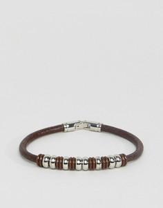 Коричневый кожаный браслет с бусинами Seven London - Коричневый