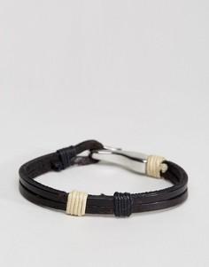 Черный кожаный браслет с крюком Seven London - Коричневый