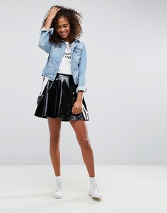 Расклешенная виниловая мини-юбка ASOS - Черный