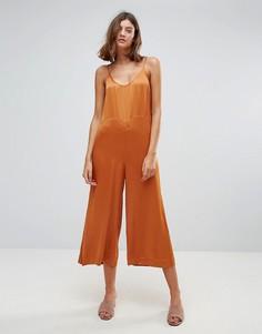 Атласный комбинезон Just Female - Оранжевый