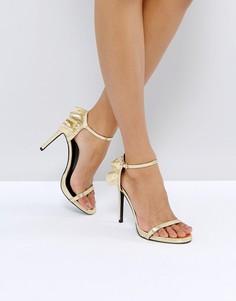 Босоножки на каблуке с рюшами New Look - Золотой