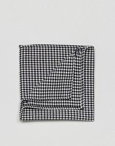 Платок для нагрудного кармана с принтом гусиная лапка ASOS - Черный