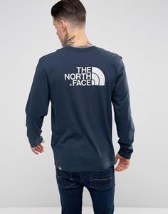 Темно-синий лонгслив с логотипом The North Face - Темно-синий