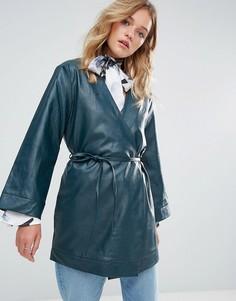 Куртка из кожзаменителя с запахом и тонким поясом Neon Rose - Зеленый