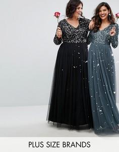 Платье макси с длинными рукавами, пайетками и юбкой из тюля Maya Plus - Черный