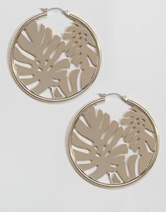 Золотистые серьги-кольца с пальмовым листом Skinnydip - Золотой