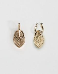 Серьги-подвески с сердечками Skinnydip - Золотой