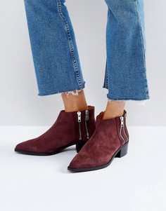 Замшевые ботинки с молниями Selected - Фиолетовый