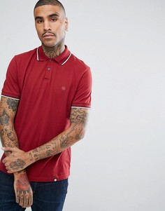 Красная футболка-поло с короткими рукавами и контрастными рукавами Pretty Green Barton - Красный