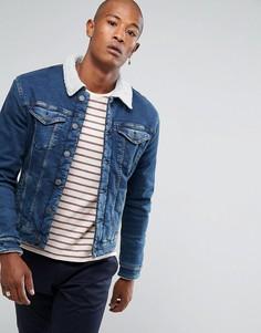 Джинсовая куртка с подкладкой из пушистого флиса Selected Homme - Синий
