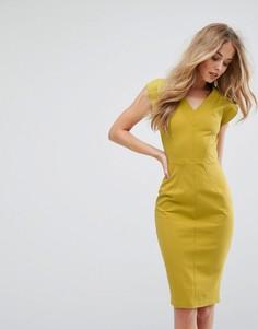 Облегающее платье миди с V-образным вырезом Closet - Зеленый