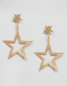 Серьги-подвески со звездами Monki - Золотой
