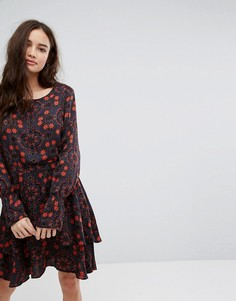 Платье миди с цветочным принтом и оборками Vila - Мульти