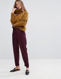 Брюки с поясом на талии New Look - Фиолетовый