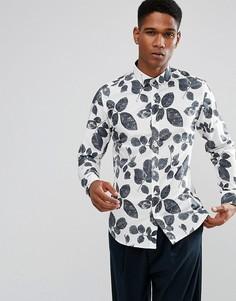 Облегающая рубашка с принтом Selected Homme - Белый