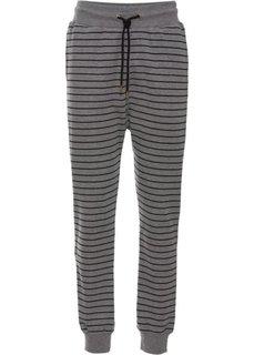 Трикотажные брюки (серый меланж/черный) Bonprix