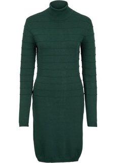 Вязаное платье с высоким воротом (темно-зеленый) Bonprix